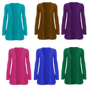 1-S-Nouveau-Femme-Style-A-Manches-Longues-Cardigan-Ouvert-poches-sur-le-devant-femme-Taille-8-26