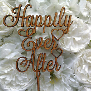 Details About Happily Ever After Wedding Cake Topper Wooden Engagment Cake Decor Love Rustic