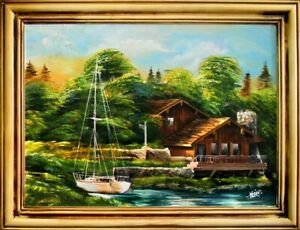 Painting-Oil-Picture-Frame-Shore-Sea-Canvas-G15550