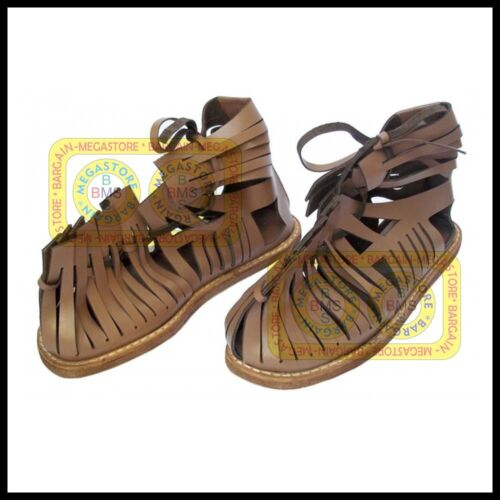 300 Spartan King Leonidas Sandals Caligae Brown Footwear Medieval Roman Sandal