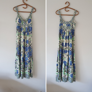 Collette-Dinnigan-100-Silk-Blue-Green-White-Floral-Tiered-Maxi-Dress-XS-S-Boho