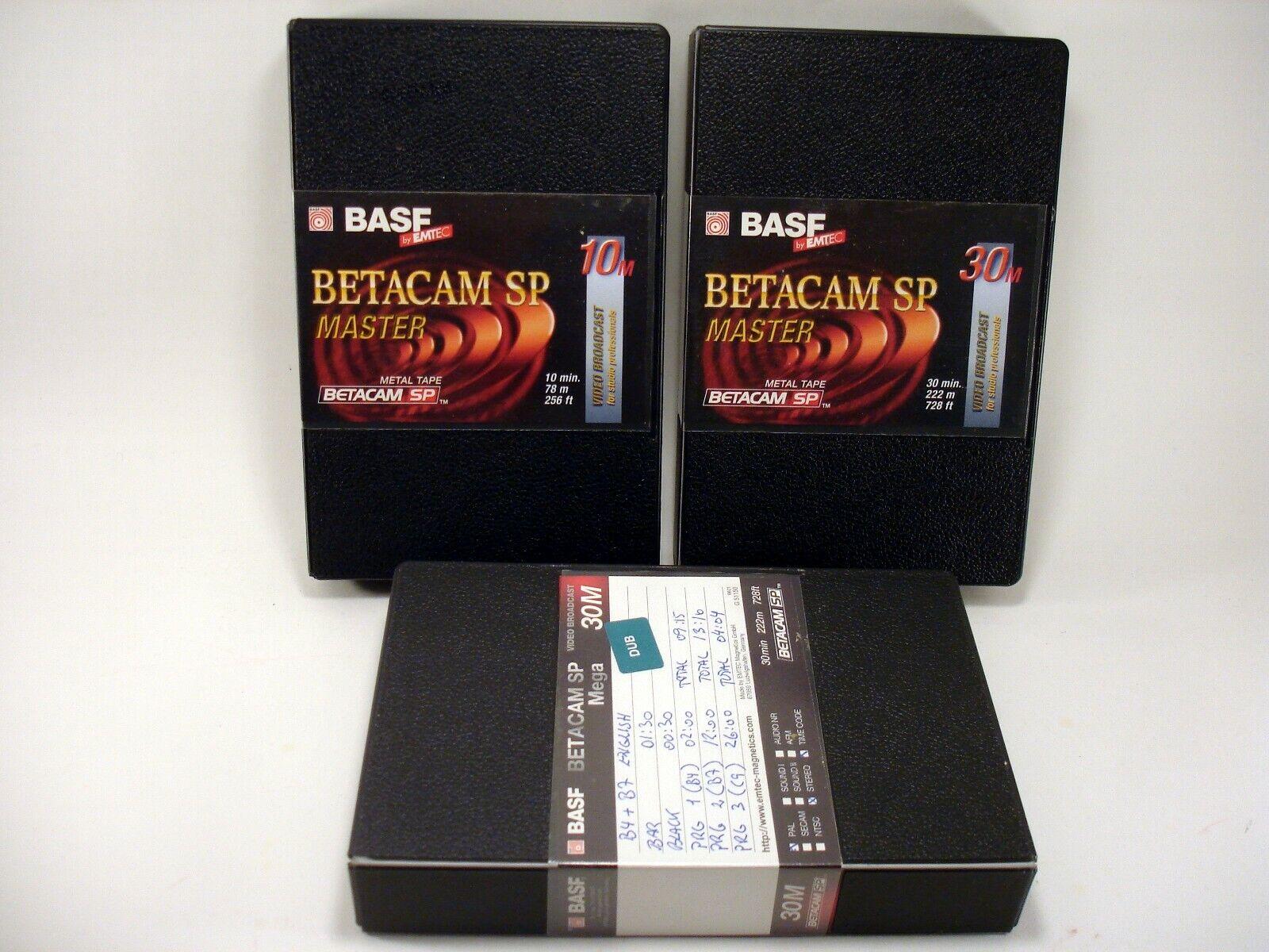 3 pc BASF Betacam SP Metal Video Cassette Tape with Case