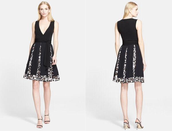 Diane von Furstenberg Malba Printed Trim Silk Wrap Dress ( ( ( Size 14) cf9562