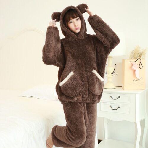 Women Flannel Pajamas Set Bear Hooded Pajamas Winter Warm Coral Fleece Sleepwear