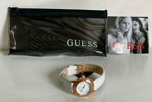 NEW-GUESS-ROSE-GOLD-CASE-WHITE-LEATHER-STRAP-BRACELET-WATCH-W0545L1-95-SALE