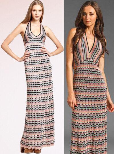 8372f63e51e Trina Turk Suriya Zig Zag Chevron Viscose Knit Pleated Halter Maxi Dress M