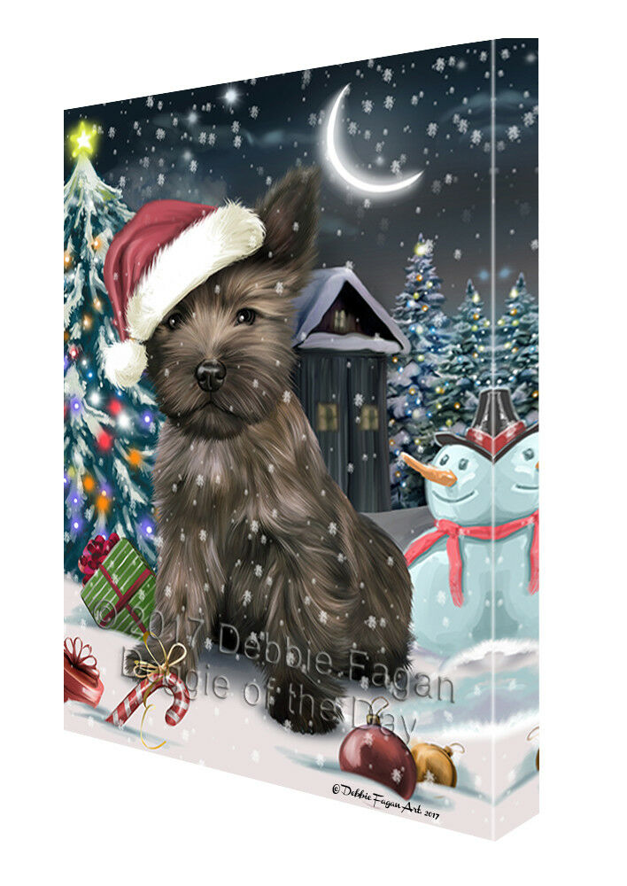 Holly Jolly Christmas Cairn Terrier Dog in Holiday Canvas Wall Art T78