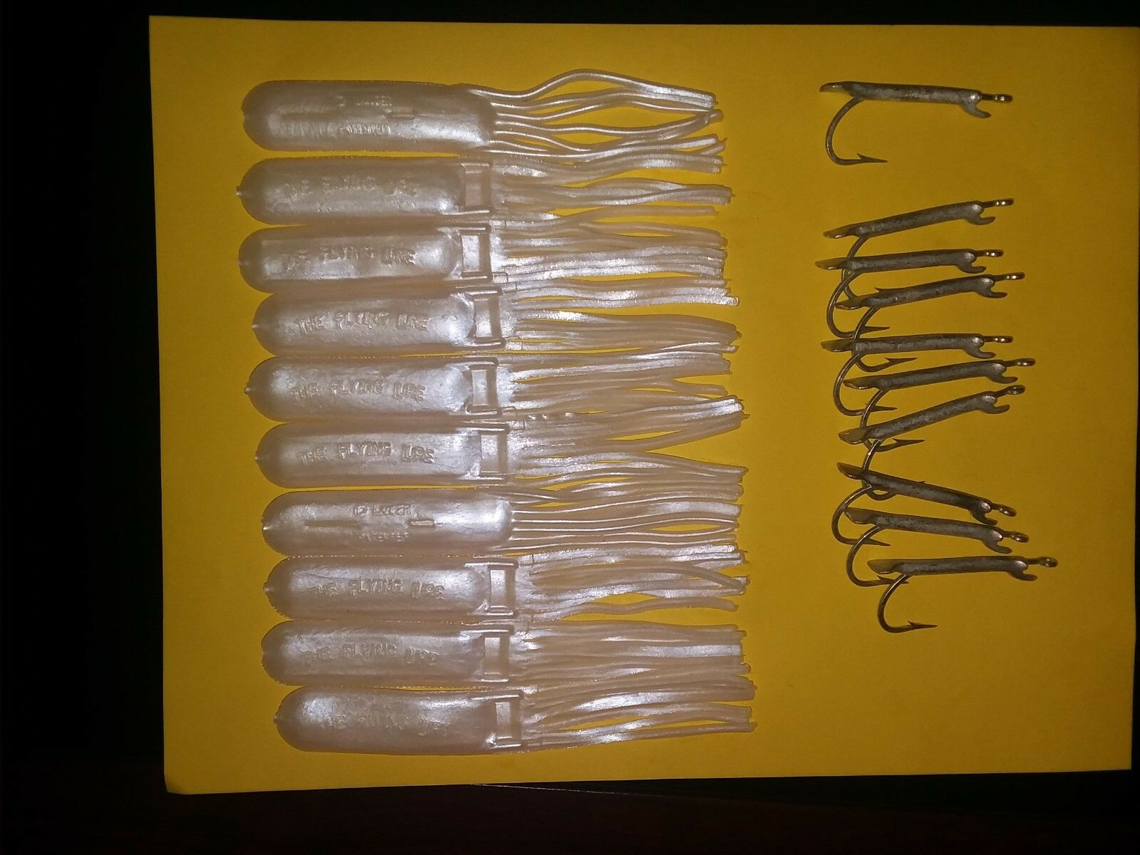 6  White Pearl Flying Lures (10 pcs) and 6'' Weighted Jigs (10 pcs)