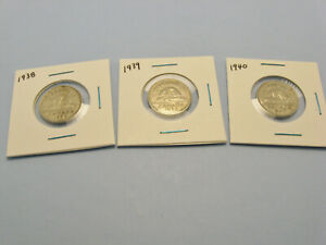 Lot-of-3-Canada-5-cent-nickel-coins-1938-1939-1940