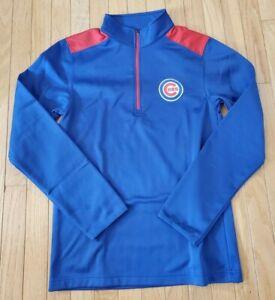 Chicago-Cubs-1-4-Zip-Fleece-Lined-Mock-Neck-Pullover-Jacket-NEW