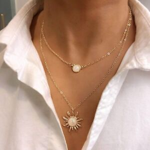 Fashion-Woman-2-layered-Sun-Flower-Necklace-Natural-Stone-Pendant-Clavicle-Chain