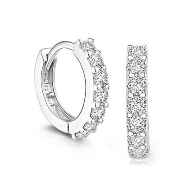 Lady's Best Jewelry White Gemstones Crystal Silver Plated Hoop Earrings