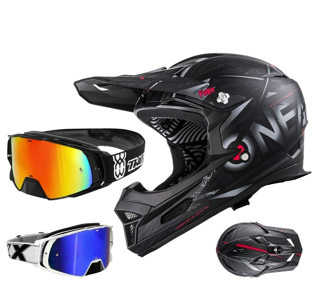 Oneal Fury synthy downhill casco negro DH mountainbike two-X Rocket crossbrille
