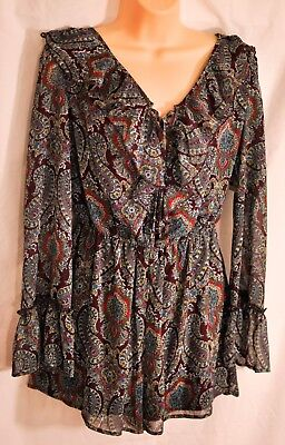 women/'s xhilaration long sleeve romper dress size Medium brown//blue ruffles new