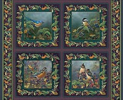 Garden Wings Birds Quilting Cushion Fabric - 4 Panels - Stunning Vibrant Colour