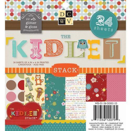 DCWV 6x6 Paper Pad KIDLET STACK w// Glitter /& Gloss Kid Girl Boy 24 sheets
