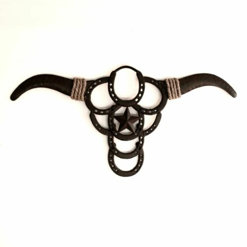 Rustic Cowboy Star Boho Skull Metal Wall Art 72cm Sculpture Home Garden Ornament