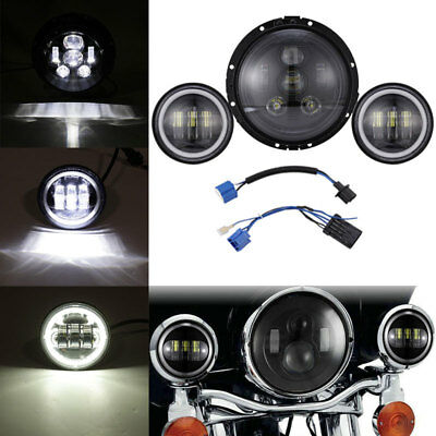 "7/"" Projector LED Headlight Auxiliary Passing Lights For Harley Heritage Softail"