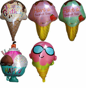 Image Is Loading ICE CREAM CONE BALLOON SUMMER BEACH LOLLIPOP BIRTHDAY