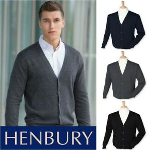 Henbury-MENS-Lightweight-Button-Up-Cotton-Acrylic-V-Neck-Cardigan-SIZES-XS-4XL