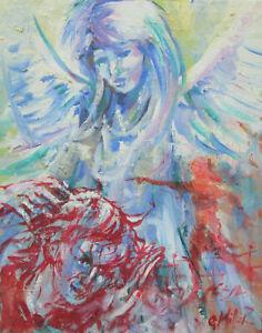 GERRY-MILLER-Olfarbe-Gemaelde-Unikat-034-Angels-034-Original-24x30cm