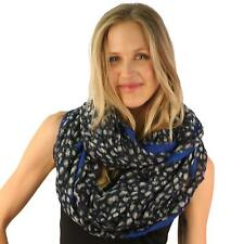 Stars Leopard Animal Print Wide Loop Circle Eternity Infinity Scarf Chain Navy