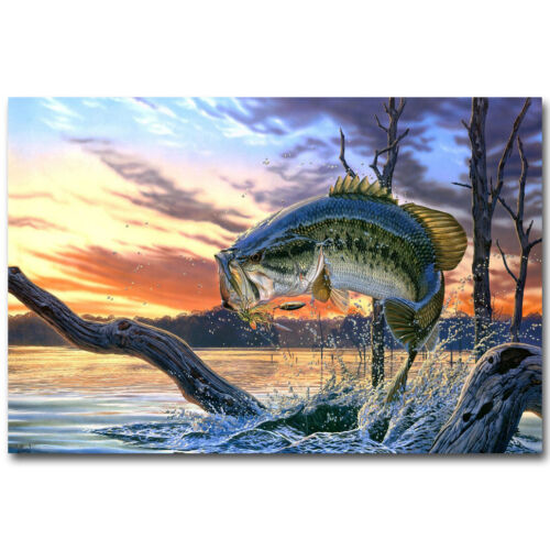 Bass Fishing Lake Sunset Art Silk Poster Print 12x18 24x36 inch