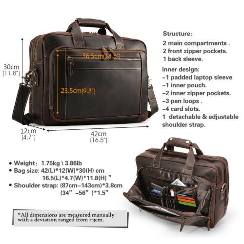 """Men Genuine Leather 17/"""" Laptop Briefcase Messenger Shoulder Bag Travel Handbag"""
