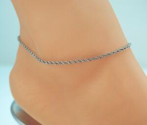 Obliging Rolo Soga Sterliing Plata Revestido Vinculado Pulsera De Tobillo Tobillera 9 Jewelry & Watches Fine Anklets