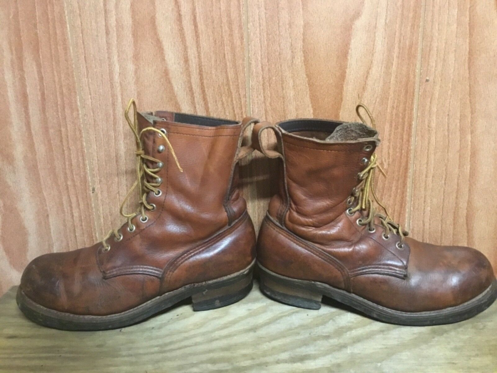 VTG MENS MENS MENS rot WING STEEL TOE WORK braun Stiefel Größe 8.5 1b0287