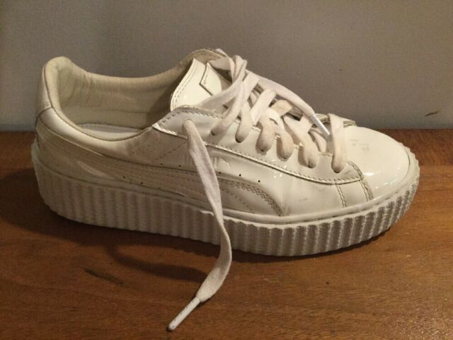 sports shoes 56cba ac9ca Puma Women's Basket Creepers Glow Rihanna 362269-01 All White Sz US 8