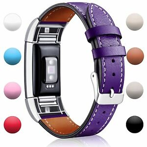 Fitbit Charge 2 Replacement Band Genuine Leather Wristband Fitness Strap Purple