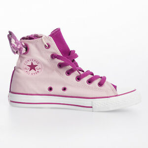 Converse Junior Chuck Taylor All Star Side Zip Hi Purple Lace Up Canvas Trainer