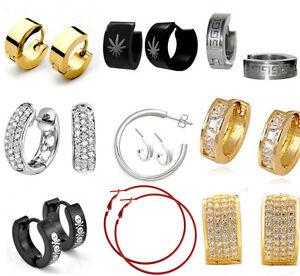 Black-Silver-Hoops-Earrings-Non-Allergenic-Huggie-Stud-316L-Stainless-Steel