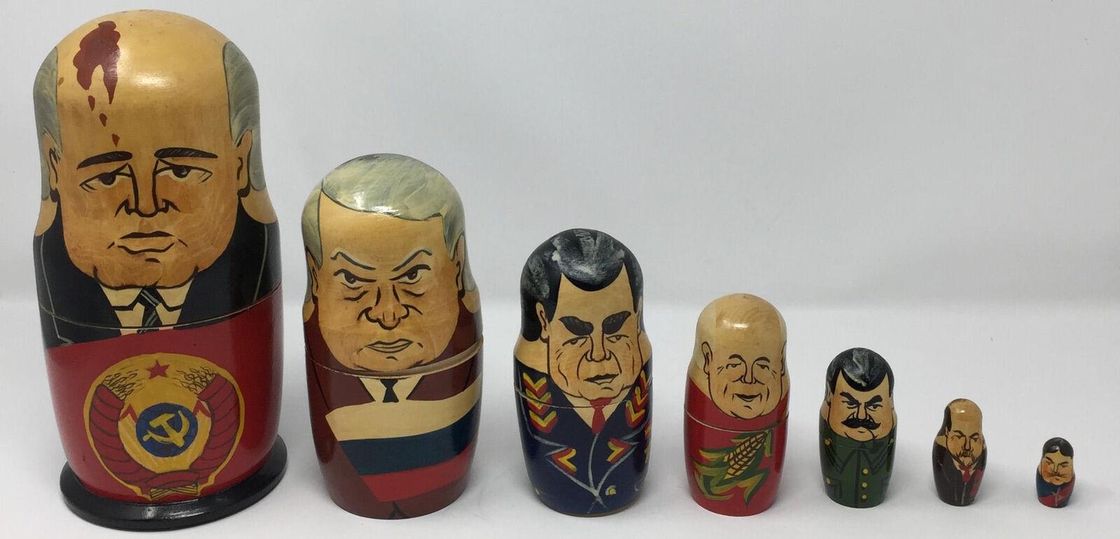 VTG Russian Set of 7 Matryoshka Nesting Dolls USSR Yeltsin Stalin Gorbachev