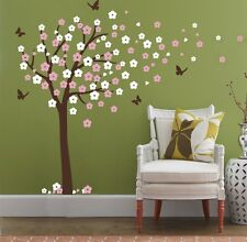 Huge Cherry Blossom Tree Blowing in the Wind Wall Decals Nursery Tree Flowers X