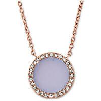 Michael Kors Goldtone Pave Disc Halo Pendant Necklace Violet Dust Bag Mkj5415710 on sale