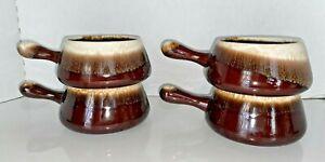 MCM McCoy Pottery Drip Glaze French Onion Handled Soup Chili Bowls USA 4 pcs