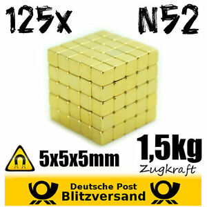125x-Neodym-Magnet-Wuerfel-5x5x5mm-N52-Gold-beschichtet-kleine-Magnete-Geocaching