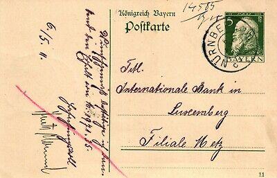 Intellektuell Bayern, Ganzsache 5 Pf, 1911, Destination Luxemburg