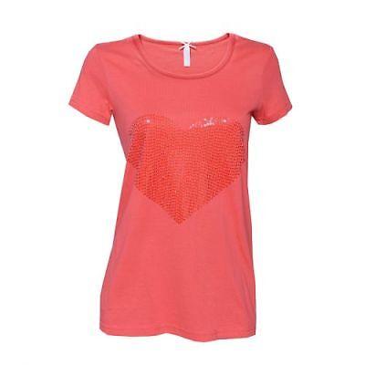 """LOUIS /& LOUISA /"""" Herz /"""" Pailletten-Shirt weiss //orange Gr.34-44 NEU"""