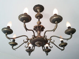 Vintage-Brass-Candle-Chandelier-8-Arms-Pendant-Celling-Living-Room-Light