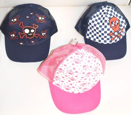 Girls Boys Skull Crossbones Mesh Trucker Baseball Cap Sun Hat Age 6-10 Yrs A109