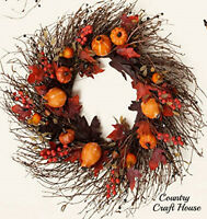Primitive Rustic Large Pumpkin Gourd Berry Leaves Fall Grapevine Twig Wreath