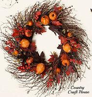Primitive Rustic Large Pumpkin Gourd Berry Leaves Fall Grapevine Twig Wreath