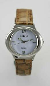 Details about Decade white dial watch for women silver stainless steel brown leather show original title