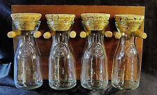 WALL MOUNTED WOOD & GLASS SPICE RACK - 4 Glass Mini-Carafe Jars w/Cork Stoppers