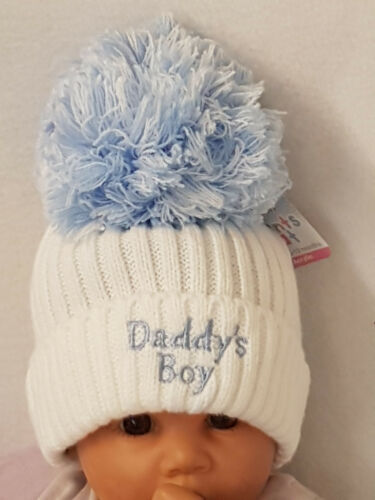 New Baby Knitted Wool Embroidered Hat Baby Shower Gift White//Pink//Blue Pom Pom