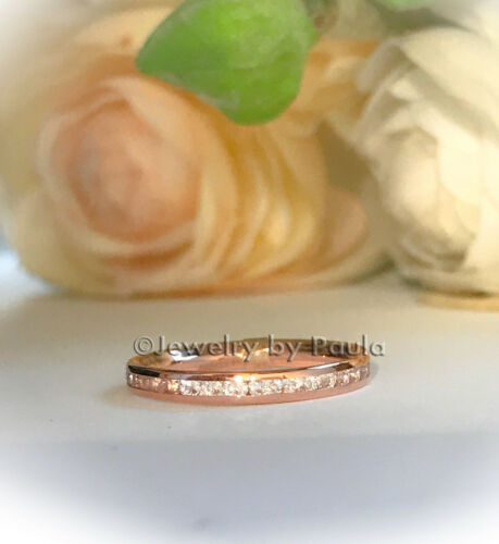 14k Solid Rose Gold Eternity Diamond Band Stackable Ring Endless Wedding Band
