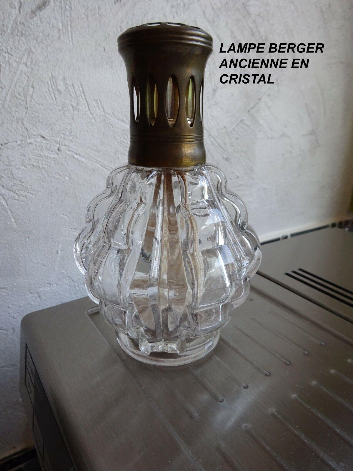 ANCIENNE LAMPE BERGER EN VERRE CRISTAL TRANSPARENT